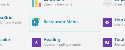 restaurant menu module